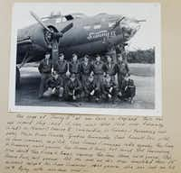"""A photo shows Lt. John """"Lucky"""" Luckadoo (front row, far right) and the rest of the crew of the Sunny II at their base in England. All but one of the men pictured survived a full tour with """"The Bloody Hundredth.""""Nathan Hunsinger"""