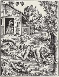 """""""The Werewolf,"""" by Lucas Cranach, circa 1510-15: Rabies touches our deepest fears."""