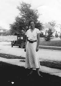 "Winifred Sanford in the front yard of her new home, circa 1931. From ""Winifred Sanford: The Life and Times of a Texas Writer,"" by Betty Wiesepape, copyright 2013 by the University of Texas Press."