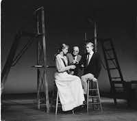 """Thornton Wilder (center, with Ellen Weston and Robert Hock) made his final appearance as the Stage Manager  in """"Our Town"""" in 1959 at Williamstown Theater in Williamstown, Mass."""