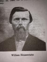 This scanned picture is a photo of William M. Housewright. The former president of the Wylie Cemetery Company, his gravestone, which dates 1889, is the first marked grave in the Wylie Cemetery. Housewright instigated the building of the cemetery in 1889 after the purchase of five acres from the Gulf, Colorado and Santa Fe Railroads.