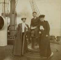 ORG XMIT: *S0413930310* Willa Cather traveling to Europe on a ship with Isabelle McClung and unidentified man, 1902.  Credit: Archives & Special Collections, University of Nebraska-Lincoln Libraries