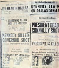News of President John F. Kennedy's assassination is bannered across the front pages of Texas newspapers.