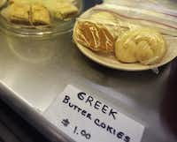 Greek pastries are baked fresh each day.