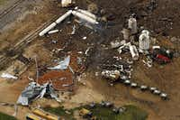 An aerial image shot the day after the fire and explosion at a fertilizer plant in West shows only a fraction of the damage caused by the disaster.