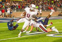 Coppell High School senior wide receiver Troy Parker (11) returns a kickoff 28 yards from the end zone. Coppell lost to Allen, 31-10, on Sept. 27. Coppell plays Flower Mound at home Friday.