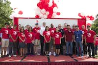 Dr. Elba Garcia (third from left front row) opened the 2014 BAPS Charities Walk at T. W. Richardson Grove Park in Irving to raise funds for the American Diabetes Association.BAPS Charities