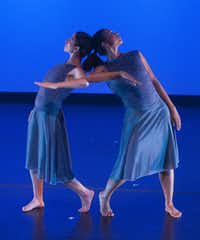 "Claudia Orcasitas (left) and Tina Mullone performed ""Interior"" during the third week of the Barefoot Brigade Dance Festival at the Bath House Cultural Center."