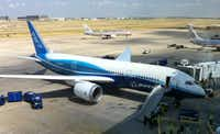 An exterior view of Boeing's 787 at Dallas/Fort Worth International Airport.