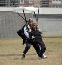 Irving Mayor Beth Van Duyne went skydiving to promote the Red Bull Flugtag event in Irving.Staff photo by RON BASELICE