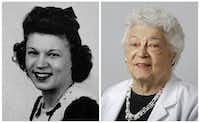 Lois Billert Lewis in her 1943 senior class picture and today.