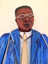 "Martin Delabano Blind Lemon Jefferson, 2013 mixed media 78""t x 38""w x 28""d"