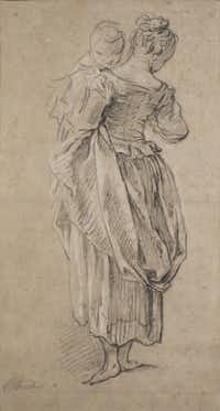 François Boucher, The Young Mother, about  1730. Black chalk heightened with white chalk on two pieces of buff laid paper affixed to pasteboard; ruled in pen and black ink by a later hand; 14-5/8  x 7-13/16 in. Lent by Dr. Esmond Bradley Martin.