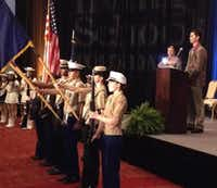 The Irving ISD Combined Color Guard opened the 27th Annual Breakfast with the Stars at the Irving Convention Center.Staff photo by DEBORAH FLECK - DMN