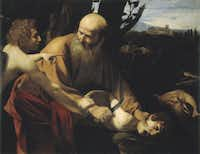The Sacrifice of Isaac by Caravaggio;  c. 1603-1604 Oil on canvas
