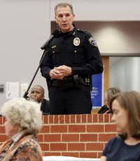 Irving Police Chief Larry Boyd addresses crime and safety in Valley Ranch at a meeting with council members.