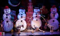 Performers dressed as reindeer perform a jump rope routine during a performance of 'Cirque Dreams Holidaze' at the Winspear Opera House in Dallas, Tuesday, December 18, 2012.