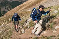 Nate Goldberg leads a guest toward the 14,421-foot summit of Mount Massive.  Beaver Creek's professional guides make this one of the safest ways to summit a Colorado fourteener.