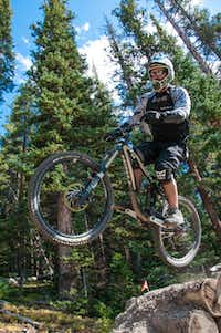 A rider gets some air on Keystone's Jam Rock Trail.  Those preferring drops to jumps will find plenty of those in the park's Drop Zone.