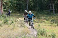 Riders race down the Jam Rock Trail at the Keystone Bike Park.  Like the ski runs, bike trails here carry green, blue and black diamond designations.
