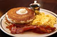 Corner Bakery, open for three squares a day, now has buttermilk pancakes with eggs and applewood bacon.Allison Slomowitz  -  Special Contributor