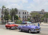 The beloved Cuban taxis -- American cars, many gorgeously restored, from the 1950s, before the U.S. embargo went into effect.Joy Tipping  -  Staff