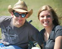 Emily Penn hangs out at a park in 2013 with friend Alex Dagley, who was diagnosed with FA as a child and will also participate in Ride Ataxia.Alex Dagley