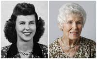 Carolyn Davis Womack in her 1943 senior class picture and today.