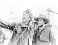 Dean Smith (right) was a stuntman in 11 of John Wayne's movies, including THE ALAMO.