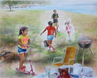 """""""Happy Kids, Happy Dog,"""" a color pencil drawing by Jenny Hong DeLaughter, is part of """"Refreshing Journey: Recent Artwork by Jenny Hong DeLaughter"""" at the Bath House Cultural Center in Dallas.Bath House Cultural Center"""