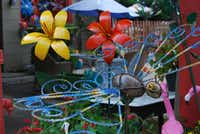 Decorative metal garden items are made in Mexico.