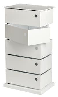 Stash: Available in white, red or gray, the five-bin storage tower affords extra space for knickknacks and also could serve as a small bedside table. $199 at the Container Store and containerstore.com.Evans Caglage - Staff Photographer