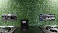 The current owners retained the kitchen's original stainless-steel counters and green wall tile.
