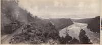 "William Henry Jackson seamlessly cut together three photos to make ""Excursion Train. Lewiston Branch. N.Y.C. RR."""