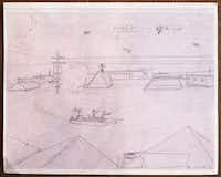 Donald Expose drew this at age 12 while waiting in the Superdome for evacuation, photographed July 2, 2013. It shows himself waiting on the rooftop to be rescued. Expose was a Katrina victim and was evacuated to Houston at age 12. He eventually found a home in Dallas.
