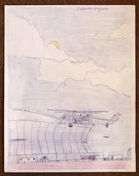 Donald Expose drew this scene while he was waiting in the Superdome, photographed July 2, 2013. Expose was a Katrina victim and was evacuated to Houston at age 12. He eventually found a home in Dallas.