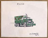 Donald Expose drew this rescue truck while he was at the Astrodome in Houston, photographed July 2, 2013. Expose was a Katrina victim and was evacuated to Houston at age 12. He eventually found a home in Dallas.