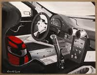 An illustration of the inside of a Porsche by Donald Expose, photographed July 2, 2013. Expose was a Katrina victim and was evacuated to Houston at age 12.