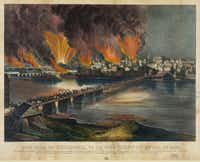 "A Currier & Ives print from circa 1865 shows ""The fall of Richmond, Va. on the night of April 2d. 1865."""
