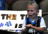 Four-year-old Austin States cheers during the watch party at the American Airlines Center in Dallas for Game Six of the NBA Finals between the Dallas Mavericks and the Miami Heat in Miami on Sunday, June 12, 2011.