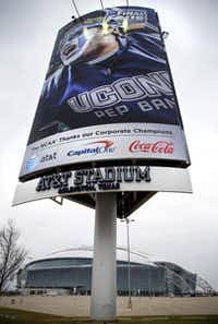 AT&T isn't the only corporate sponsor getting its name out there for the Final Four. They're plastered all over billboards around the stadium in Arlington.Tom Fox  -  Staff Photographer