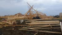 High winds in Frisco collapsed the frame of a house under construction in the Saddlebrook neighborhood. One worker was hurt, but his injuries weren't life-threatening.Cindy Sampson