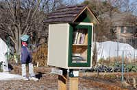A public book share on gardening is available in the community garden run by Community Unitarian Universalist Church.