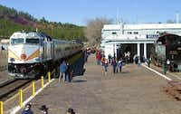 This photo provided by Grand Canyon Railway shows the train at its depot in Williams, Arizona. The train runs daily round-trip to the Grand Canyon's South Rim. The railway has been running since 1901, carries 225,000 people a year and offers history, sightseeing, scenery and entertainment.uncredited  -  AP