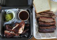 """Our order of sliced brisket, pork ribs and smoked chicken at Gatlin's BBQ in Houston. The Posse was underwhelmed with our meal. """"It's a lot of OK,"""" Posse member Jim Rossman said."""