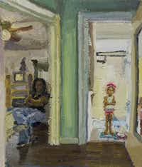 Sedrick Huckaby, Letitia and Halle, 2013, oil on panel, 11 1/2 x 9 7/8 inches, courtesy of Valley House Gallery & Sculpture Garden
