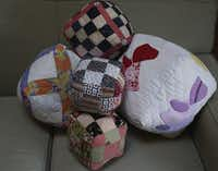 Susan Patterson recycles damaged quilts in to quilt squares and pillows.