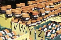 Hand-crafted Tasmanian pottery for sale at the Salamanca Market in Hobart, Tasmania.