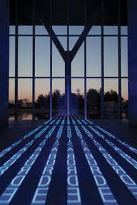 """The Modern Art Museum of Fort Worth commissioned Jenny Holzer's """"Kind of Blue."""" The work has nine LED signs that display lighted truisms."""