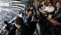 Rafael Melgoza (center), with hands in the air, reacts to a Dallas Cowboys touchdown in a private suite at Cowboys Stadium.  Rodrigo Bezanilla and Mauricio Vargas, two businessmen from Mexico, created a business catering to wealthy Mexican football fans who enjoy going to Cowboys games.